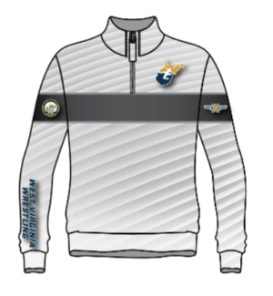 White/Grey West Virginia Wrestling Sublimated 1/4 Zip Pullover