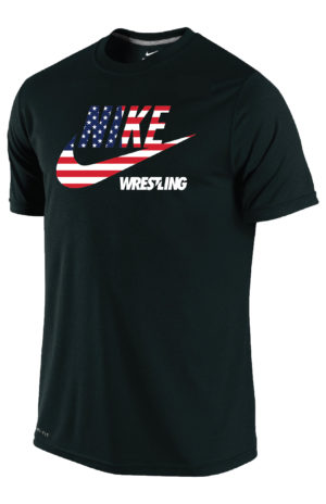 NIKE MEN'S USA WRESTLING FLAG PRINT TEE - BLACK